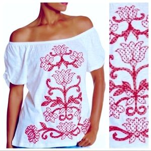 Red Floral Embroidered Off Shoulder Top Blouse S